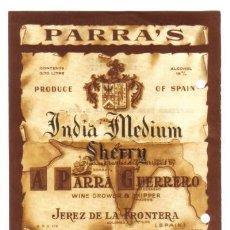 Etiquetas antiguas: ETIQUETA DE SHERRY. PARRA'S.. Lote 8108059