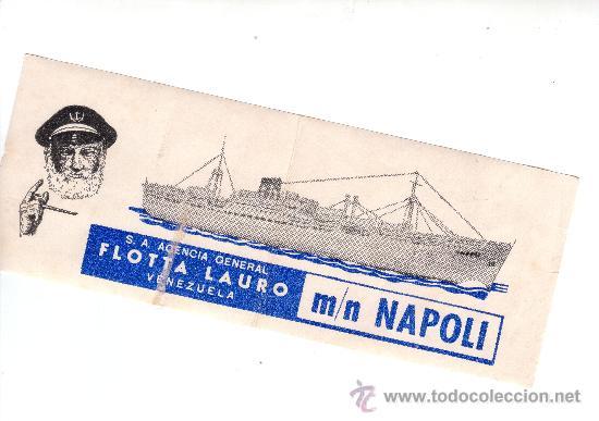 ETIQUETA HOTEL -ITALIA- LINEA MARITIMAS-FLOTA LAURO VENEZUELA -M / N NAPOLI-MEDIDAS 200X75 MM (Coleccionismo - Etiquetas)