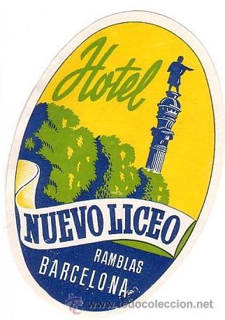 ETIQUETA HOTEL -ESPAÑA - HOTEL NUEVO LICEO - -BARCELONA -MEDIDAS 11X75 MM (Coleccionismo - Etiquetas)