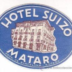 Etiquetas antiguas: ETIQUETA HOTEL - HOTEL SUIZO- JUEGO DE DOS - AZUL / BLANCO -BARCELONA-OVAL 110 X 85 MM ILUSTRA. Lote 17598167