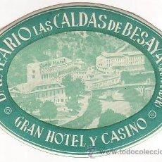 Etiquetas antiguas: ETIQUETA HOTEL -BALNEARIO LAS CALDAS DE BESAYA - SANTANDER- CANTABRIA-.OVAL 115 X 84 -. Lote 103256992