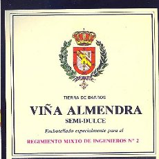 Etiquetas antiguas: ETIQUETA DE VINO DEL REGIMIENTO MIXTO DE INGENIEROS Nº 2.. Lote 8893188