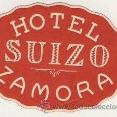 Etiquetas antiguas: ETIQUETA HOTEL -ESPAÑA -HOTEL SUIZO - ZAMORA- OVAL 85 X 60 MM. Lote 16290273