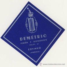 Etiquetas antiguas: ETIQUETA HOTEL - PORTUGAL- - HOTEL DEMETRIO-ESPINHO -PORTUGAL- ILUSTRACION-. Lote 221993908