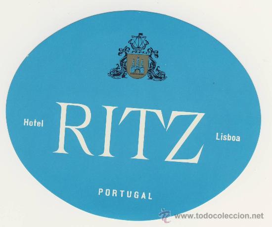 ETIQUETA HOTEL - PORTUGAL- HOTEL RITZ- AZUL -LISBOA-ILUSTRACION -OVAL 115X95 MM (Coleccionismo - Etiquetas)