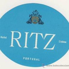 Etiquetas antiguas: ETIQUETA HOTEL - PORTUGAL- HOTEL RITZ- AZUL -LISBOA-ILUSTRACION -OVAL 115X95 MM. Lote 15893533