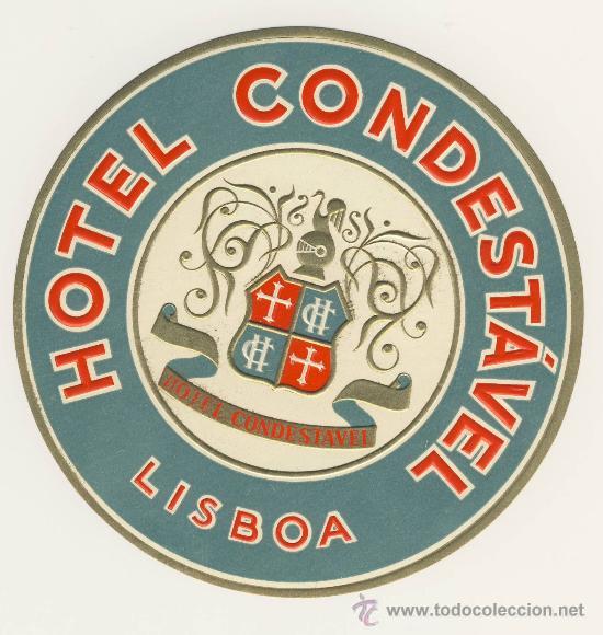 ETIQUETA HOTEL - PORTUGAL - HOTEL CONDESTABLE- LISBOA-ILUSTRACION - (Coleccionismo - Etiquetas)
