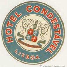Etiquetas antiguas: ETIQUETA HOTEL - PORTUGAL - HOTEL CONDESTABLE- LISBOA-ILUSTRACION -. Lote 15912855