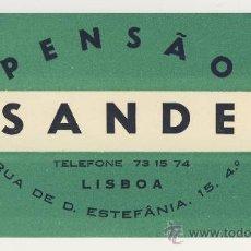 Etiquetas antiguas: ETIQUETA HOTEL - PENSAO SANDE - LISBOA -PORTUGAL-MEDIDAS 120 X 70 MM -DATADA-. Lote 17032207