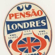 Etiquetas antiguas: ETIQUETA HOTEL -PORTUGAL - PENSAO LONDRES- LISBOA -ILUSTRACION -100 X 80 MM . Lote 15483312