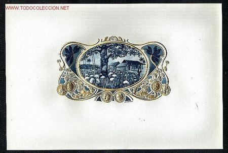 ETIQUETA DE TABACO MODERNISTA CAMPO DE ALGODON, EN RELIEVE (Coleccionismo - Etiquetas)