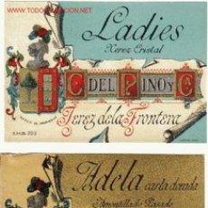 Etiquetas antiguas: 3 ANTIGUAS ETIQUETAS CAYETANO DEL PINO JEREZ (CROMOLITOGRAFIAS). Lote 27279521
