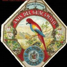 Etiquetas antiguas: ETIQUETA ANTIGUA ANIS DEL GUACAMAYO (CAYETANO DEL PINO) CROMOLITOGRAFIA. Lote 3128877