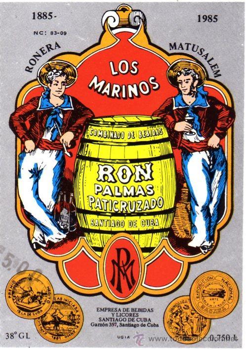 ETIQUETA RON - DOS MARINOS - 1985 - SANTIAGO DE CUBA (Coleccionismo - Etiquetas)