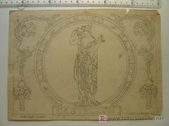ANTONIO PRADES SAFONT - CASTELLON - AÑOS 1910-20 - ORIGINAL DE ETIQUETA DE NARANJA PINTADA A MANO (Coleccionismo - Etiquetas)
