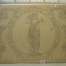 Etiquetas antiguas: ANTONIO PRADES SAFONT - CASTELLON - AÑOS 1910-20 - ORIGINAL DE ETIQUETA DE NARANJA PINTADA A MANO. Lote 27336592