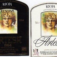 Etiquetas antiguas: ETIQUETAS DE VINO,BODEGAS ONTAÑON-QUEL (LA RIOJA). Lote 23232281