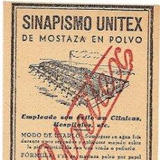 Etiquetas antiguas: SINAPISMO UNITEX - ANTIGUA ETIQUETA. Lote 26767615