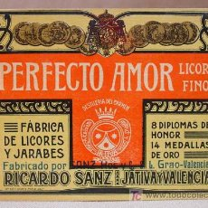 Etiquetas antiguas: ETIQUETA LICOR FINO PERFECTO AMOR RICARDO SANZ XATIVA JATIVA . Lote 11999091