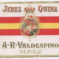 Etiquetas antiguas: ETIQUETA *JEREZ QUINA* - A.R. VALDESPINO (JEREZ) EN RELIEVE (13X11 CM). Lote 22757213