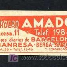 Etiquetas antiguas: MANRESA - BERGA - SOLSONA. *RECADERO AMADO* MEDS: 29 X 64 MMS.. Lote 12448627