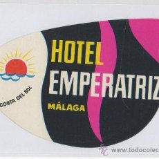 Etiquetas antiguas: ETIQUETA HOTEL EMPERATRIZ MALAGA COSTA DEL SOL . Lote 12564017