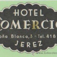 Etiquetas antiguas: ETIQUETA HOTEL COMERCIO JEREZ CADIZ. Lote 12598090