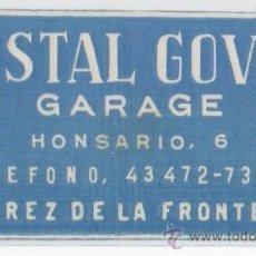 Etiquetas antiguas: ETIQUETA HOSTAL GOVER GARAGE JEREZ DE LA FRONTERA CADIZ . Lote 12598131