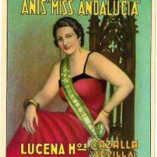 Etiquetas antiguas: ANÍS MIS ANDALUCIA. LUCENA HNOS. CAZALLA DE LA SIERRA (SEVILLA).. Lote 48577074