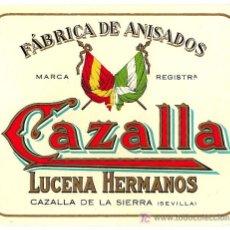 Etiquetas antiguas: CAZALLA. LUCENA HNOS. CAZALLA DE LA SIERRA. (SEVILLA).. Lote 48577068