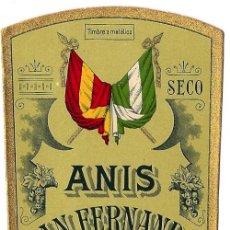 Etiquetas antiguas: ANÍS SAN FERNANDO. LUCENA HNOS. CAZALLA DE LA SIERRA. (SEVILLA). Lote 26982754