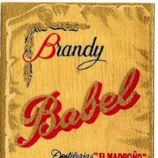 Etiquetas antiguas: BRANDY BABEL. CAZALLA DE LA SIERRA (SEVILLA). PEDIDO MÍNIMO: 8 € EN ETIQUETAS.. Lote 26466135