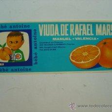 Etiquetas antiguas: 15 ETIQUETAS - BEBE ANTOINE VIUDA DE RAFAEL MARSAL, NARANJAS - MANUEL, VALENCIA. Lote 182258071