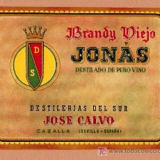 Etiquetas antiguas: ETIQUETA DE BRANDY VIEJO JONÁS.. Lote 26725990