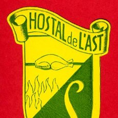 Etiquetas antiguas: ETIQUETA HOTEL-HOSTAL DE LÁST - SITGES-TARRAGONA- IRREGULAR 70 MM. Lote 25760522