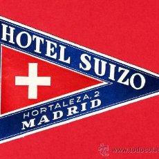 Etiquetas antiguas: ETIQUETA HOTEL -HOTEL SUIZO 110X 75 MM MADRID. Lote 17665442