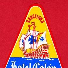 Etiquetas antiguas: ETIQUETA HOTEL-ESPAÑA - HOTEL COLON - - IRREGULAR 100 MM BARCELONA -. Lote 27457250