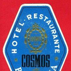 Etiquetas antiguas: ETIQUETA HOTEL -ESPAÑA- HOTEL COSMOS - AZUL OSCURO- IRREGULAR 130 MM BARCELONA . Lote 17514433