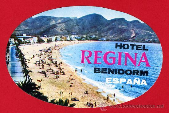 ETIQUETA HOTEL-HOTEL REGINA-BENIDORM-ALICANTE - ESPAÑA-OVAL-130MM- -ILUSTRACION (Coleccionismo - Etiquetas)