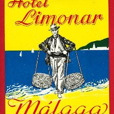 Etiquetas antiguas: ETIQUETA HOTEL-ESPAÑA -HOTEL LIMONAR - 90X 100 MM- - MALAGA-. Lote 17456311