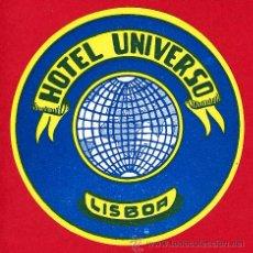 Etiquetas antiguas: ETIQUETA HOTEL - HOTEL UNIVERSO -DIAMETRO 90 MM -LISBOA -PORTUGAL. Lote 25918384