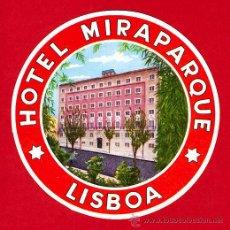 Etiquetas antiguas: ETIQUETA HOTEL - HOTEL MIRAPARQUE -DIAMETRO 90 MM -LISBOA -PORTUGAL-. Lote 25918385