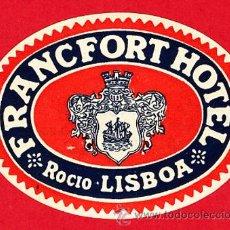 Etiquetas antiguas: ETIQUETA HOTEL - HOTEL FRANCFORT -OVAL 70 MM - -LISBOA -PORTUGAL. Lote 19570277