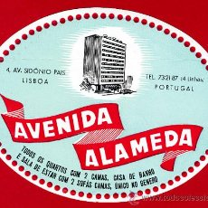 Etiquetas antiguas: ETIQUETA HOTEL - HOTEL AVENIDA ALAMEDA-OVAL 135 MM --LISBOA-DATADA -PORTUGAL. Lote 14249971