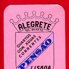 Etiquetas antiguas: ETIQUETA HOTEL - PENSAO ALEGRETE- LISBOA -PORTUGAL- -MEDIDAS 70 X 105 MM -DATADA. Lote 14289253