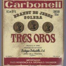 Etiquetas antiguas: ETIQUETA DE BRANDY TRES OROS. BODEGAS BOBADILLA. JEREZ. . Lote 14353528