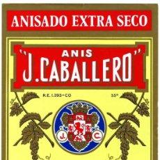 Etiquetas antiguas: ETIQUETA ANIS J.CABALLERO (ESCUDO CORDOBA) - RUTE (CORDOBA) . Lote 157220684