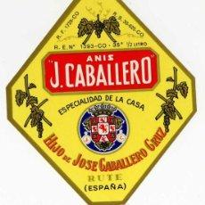 Etiquetas antiguas: ETIQUETA ANIS J.CABALLERO (ESCUDO DE CORDOBA) - RUTE (CORDOBA. Lote 48603986