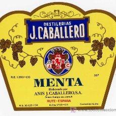 Etiquetas antiguas: ETIQUETA LICOR MENTA - ANIS J. CABALLERO (ESCUDO DE CORDOBA) - RUTE (CORDOBA). Lote 26544502