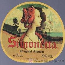 Etiquetas antiguas: ETIQUETA DE ORIGINAL LIQUEUR SIMONETTA. SINCE. COLOMBIA.. Lote 14426370